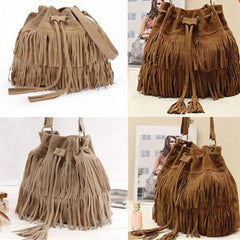 Women Faux Suede Fringe Tassel Handbag - BoardwalkBuy - 3