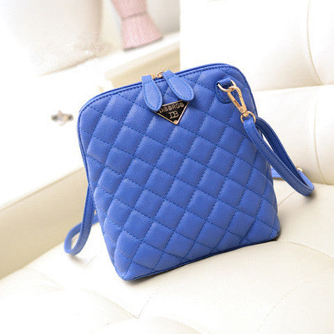Women Shell Leather Plaid Handbag