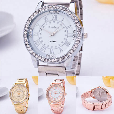 Women's Crystal Rhinestone Stainless Steel Analog Quartz Wrist Watch - BoardwalkBuy - 1