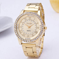 Women's Crystal Rhinestone Stainless Steel Analog Quartz Wrist Watch - BoardwalkBuy - 2