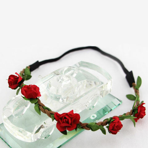 Women Fashion Bohemia Rose Flower Beach  Headband