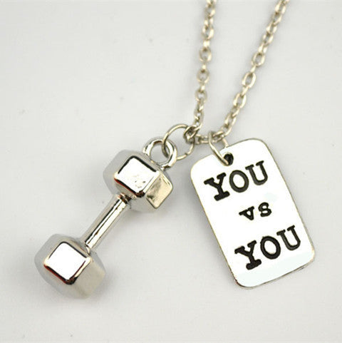 You vs You Dumbbell Necklace - BoardwalkBuy