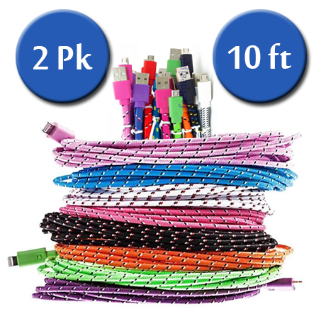2 Pack:10 Feet Fiber Cloth Sync & Charge USB Android Cable - Assorted Colors