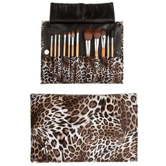 12 Piece Leopard Skin Brush Set - Flat Case - BoardwalkBuy - 2
