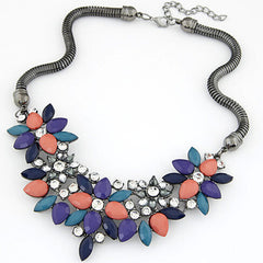 Fabric Acrylic Resin Flower Necklace - BoardwalkBuy - 2