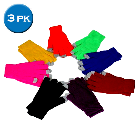 3 Pairs: Ultra-Soft Touchscreen Gloves - Assorted Colors