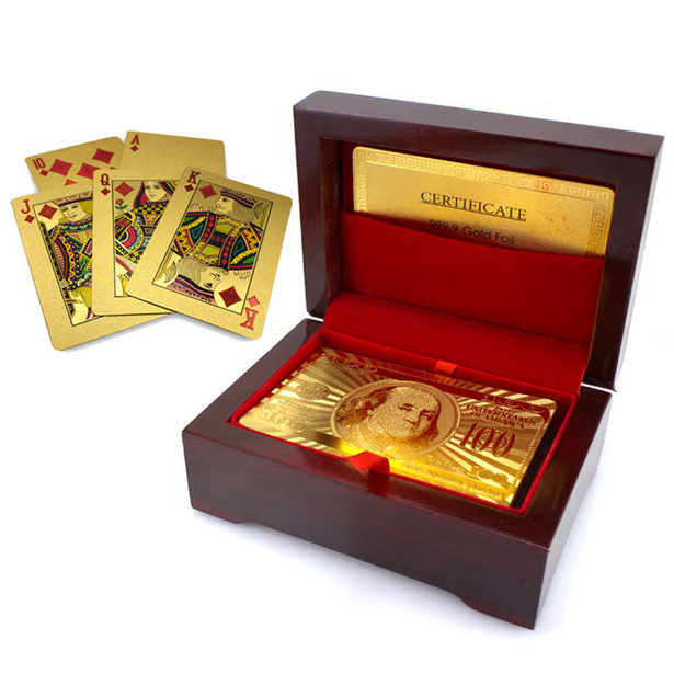 24K Gold-Plated Playing Cards with Case - BoardwalkBuy - 1