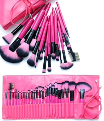 Hot Pink 24 Piece Make Up Brush Set - BoardwalkBuy - 2