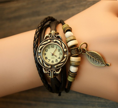 Leaf Boho-Chic Vintage-Inspired Handmade Watch - Assorted Colors - BoardwalkBuy - 3
