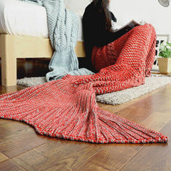 Cozy Cotton-Knit Mermaid Tail Blanket - BoardwalkBuy - 1