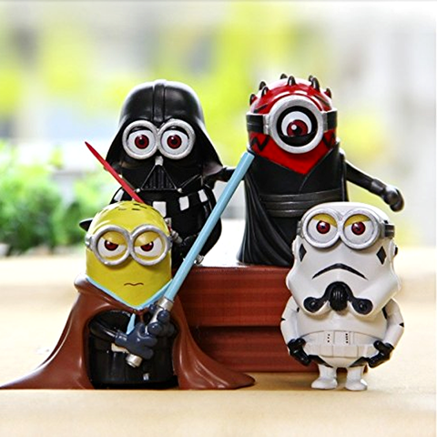 4Pcs/Set: Minion Star Wars Action Figures Toys