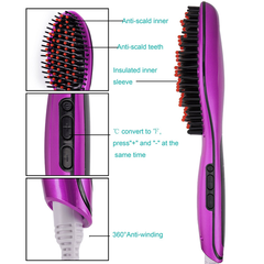 Purple Ceramic Hair Straightener Brush - BoardwalkBuy - 3