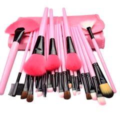 24-Piece Set: Professional Makeup Brush Kit with Roll-Up Carrying Case - Assorted Colors - BoardwalkBuy - 3