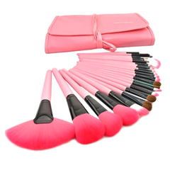24-Piece Set: Professional Makeup Brush Kit with Roll-Up Carrying Case - Assorted Colors - BoardwalkBuy - 2