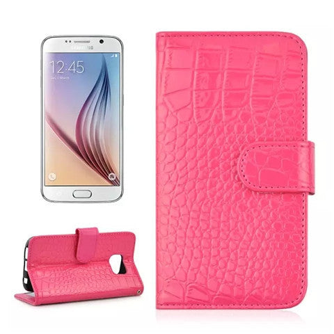 Croco Leather Wallet Case for Samsung S6