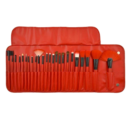 24piece set professional makeup brush kit with rollup