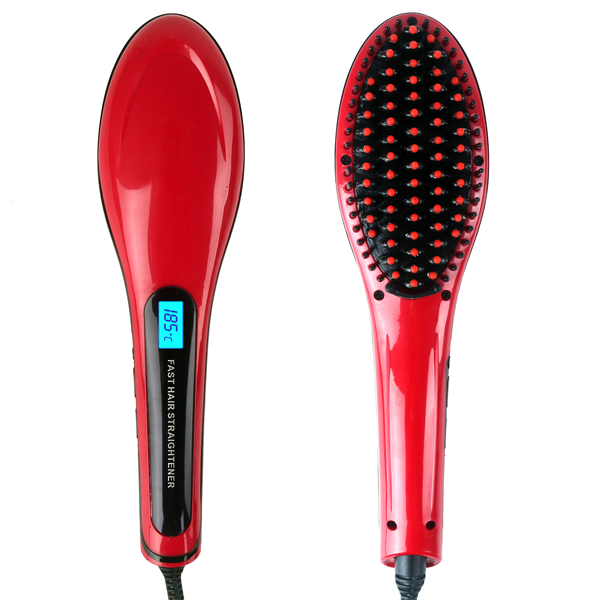 Red Ceramic Hair Straightener Brush - BoardwalkBuy - 1