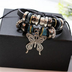 NEW Fashion butterfly Leather Charm Bracelet - BoardwalkBuy - 4