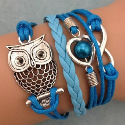 Owl Heart Pearl Friendship Leather Charm Bracelet
