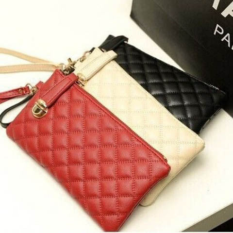Ladies Soft Leather Clutch Long PU Card Purse Handbag
