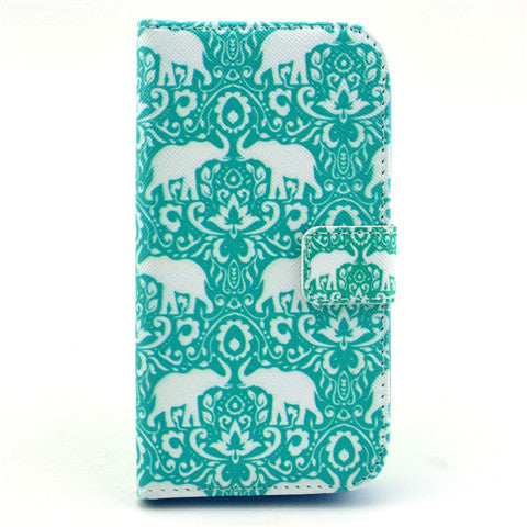 Green elephant Stand Leather Case For Samsung S4 - BoardwalkBuy - 1