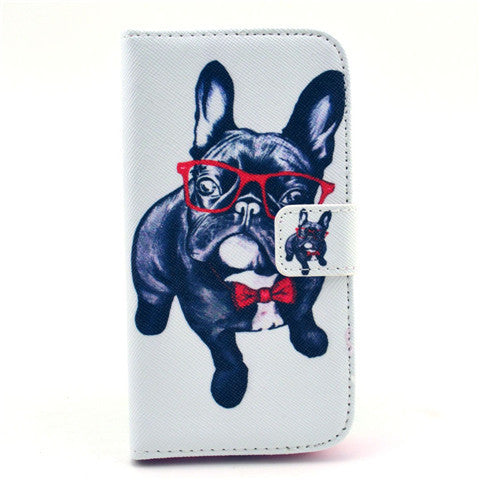 Glasses dog Stand Leather Case For Samsung S4
