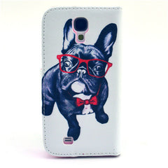 Glasses dog Stand Leather Case For Samsung S4 - BoardwalkBuy - 3