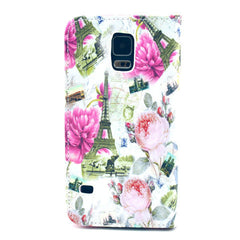 Flower tower Stand Leather Case For Samsung S5 - BoardwalkBuy - 3