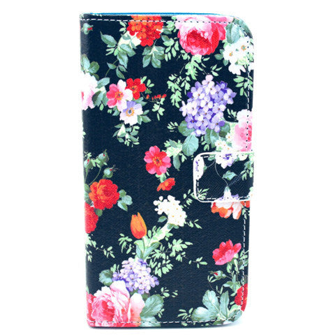 Black Flower Stand Leather Case For Samsung S5