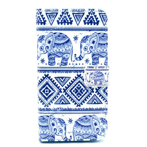 Blue And White Elephant Stand Leather Case For Samsung S5