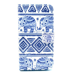 Blue and white elephant Stand Leather Case For Samsung S5 - BoardwalkBuy - 1