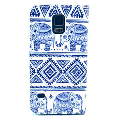 Blue and white elephant Stand Leather Case For Samsung S5 - BoardwalkBuy - 3
