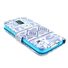 Blue and white elephant Stand Leather Case For Samsung S5 - BoardwalkBuy - 4