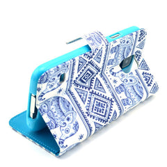 Blue and white elephant Stand Leather Case For Samsung S5 - BoardwalkBuy - 2