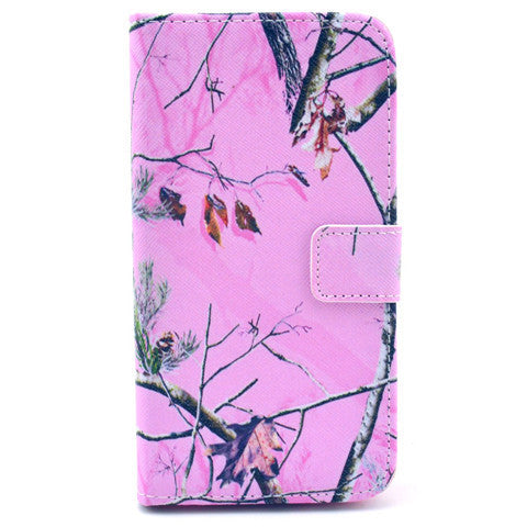 Pink Branch Stand Leather Case For Samsung S5