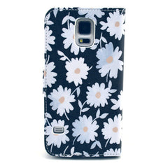 Blacek flower Stand Leather Case For Samsung S5 - BoardwalkBuy - 3