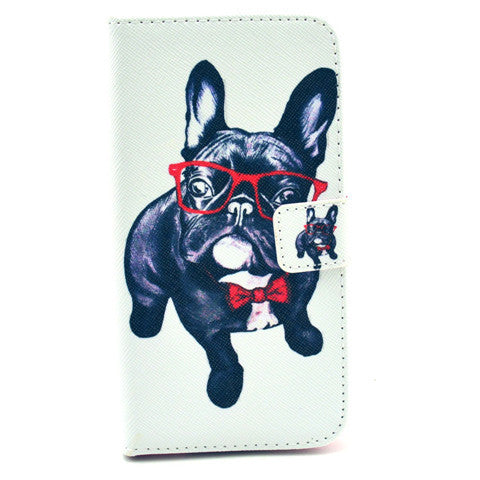 Glasses Dog Stand Leather Case For Samsung S5