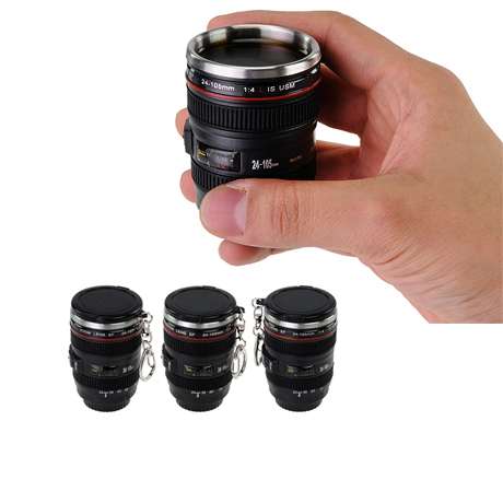 Mini SLR Camera Lens Shot Glass with Keychain