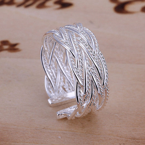Fashion Small Net Weaving Sterling Silver Ring