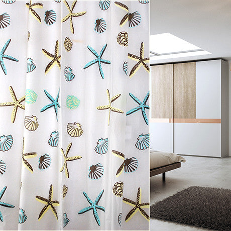 Waterproof Shower Curtain - Star Fish Design - BoardwalkBuy