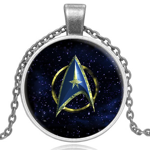 Star Trek Glass Pendant Necklace- Gold and Silver - BoardwalkBuy - 1