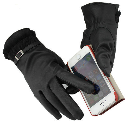 Touch Screen Women Leather Warm Winter Gloves