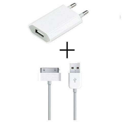 usb wall charger adapter + free 30 pin data cable - BoardwalkBuy