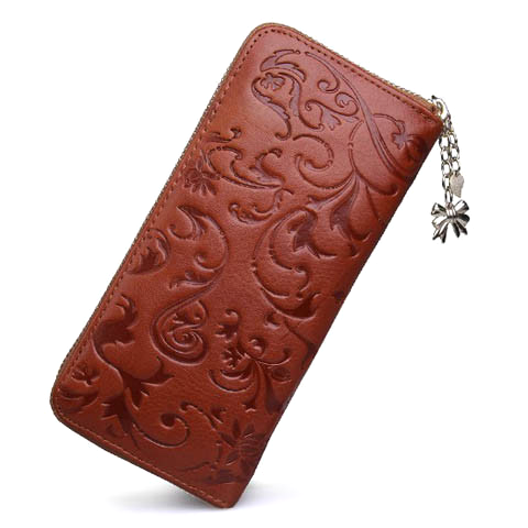 Leather Long Clutch Embossing Wallet