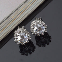 Sterling Sliver 8MM 2 Carat Cubic Zirconia Stud Earrings - BoardwalkBuy - 3