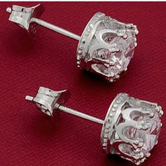 Sterling Sliver 8MM 2 Carat Cubic Zirconia Stud Earrings - BoardwalkBuy - 5
