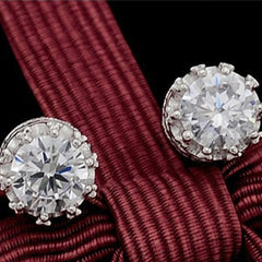 Sterling Sliver 8MM 2 Carat Cubic Zirconia Stud Earrings - BoardwalkBuy - 6