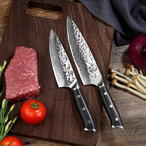 2 Piece Kitchen Chef Knife Set, Japanese Damascus AUS-10 Steel
