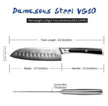 Load image into Gallery viewer, Santoku Knife - 5 inches - 73 Layers Damascus Cut Japanese VG 10 Core Steel Blade