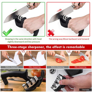 Knife Sharpener 3 Stages Professional Kitchen Sharpening Stone Grinder Knives Whetstone Tungsten Diamond Ceramic Sharpener Tool